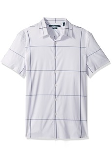 Perry Ellis Men's Short Sleeve Windowpane Total Stretch Shirt  Extra Large