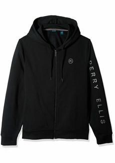 Perry Ellis Men's Signature Sleeve Logo Full Zip Hooded Sweatshirt Black/DHK