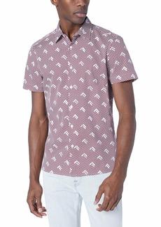 Perry Ellis Men's Slim Fit Arrow Print Shirt Rhododendron-4ESW7059