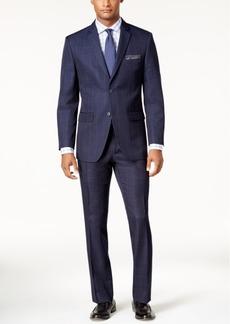 Perry Ellis Men's Slim-Fit Blue Windowpane Suit
