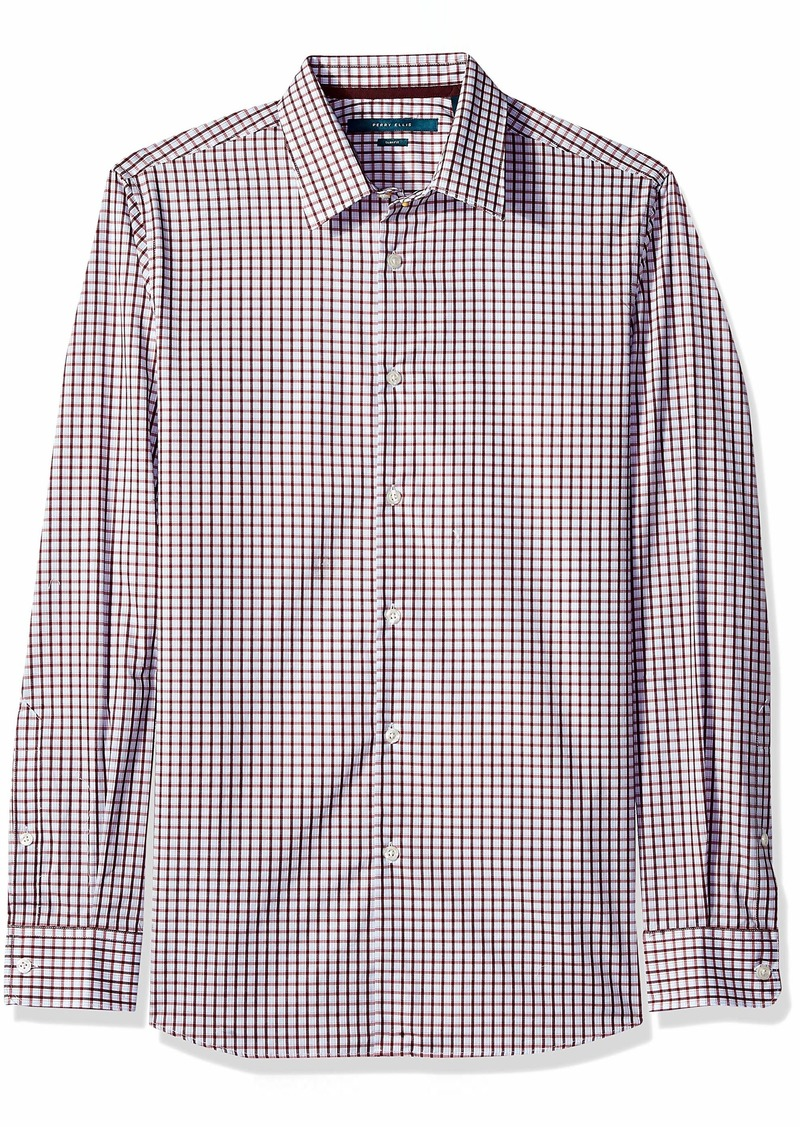 Perry Ellis Men's Slim Fit Check Shirt Brick red/DFW