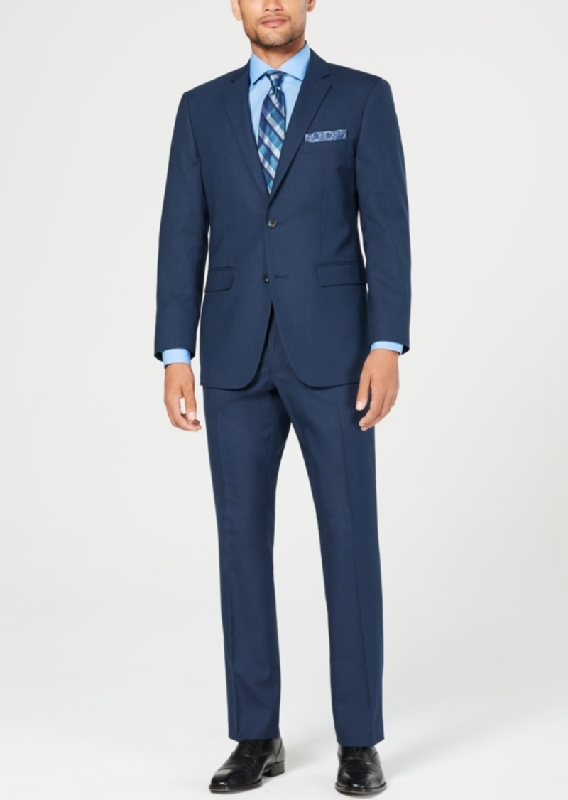 Perry Ellis Men's Slim-Fit Comfort Stretch Medium Blue Sharkskin Suit