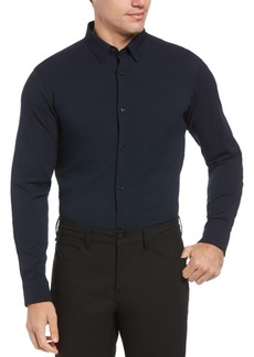Perry Ellis Men's Slim Fit Crosshatch Long Sleeve Button-Down Stretch Shirt