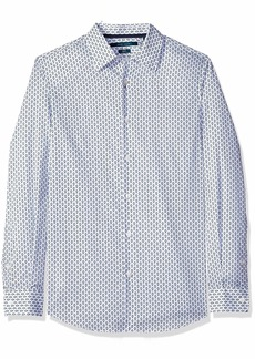 Perry Ellis Men's Slim Fit Dot Print Stretch Shirt Cerulean/DFW