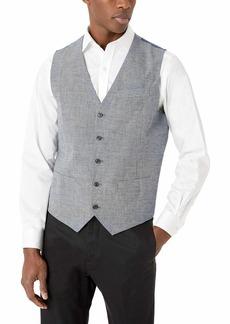 Perry Ellis Men's Slim Fit End Linen Vest Bijou Blue-4ESV4418