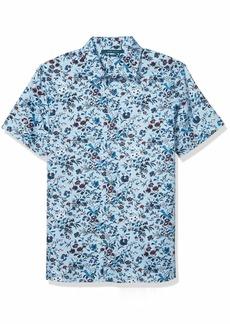 Perry Ellis Men's Slim Fit Floral Print Short Sleeve Button-Down Shirt  X Large