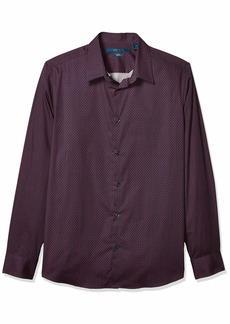 Perry Ellis Men's Slim Fit Geo Bracket Print Long Sleeve Button-Down Shirt