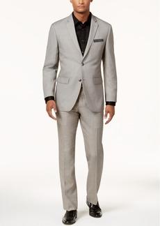 Perry Ellis Men's Slim-Fit Light Gray Sharkskin Suit