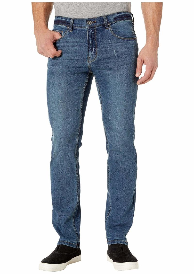 Perry Ellis Men's Slim Fit Light Wash Stretch Denim Pant Medium Indigo-4ESB5303
