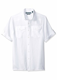 Perry Ellis Men's Slim Fit Linen Short Rolled Sleeve Shirt Bright White/DHW Extra Extra Large