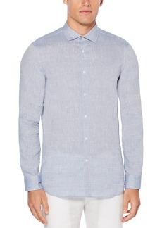 Perry Ellis Men's Slim Fit Long Sleeve Solid Linen Shirt