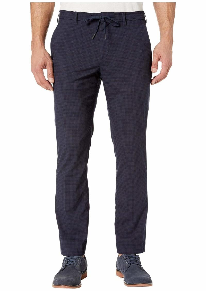 Perry Ellis Men's Slim Fit Mini Check Stretch Pants Dark Sapphire-4EMB4314