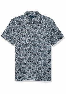 Perry Ellis Men's Slim Fit Mini Floral Print Stretch Short Sleeve Button-Down Shirt  X Large