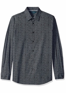Perry Ellis Men's Slim Fit Mini Floral Resist Spill Shirt Black/DHW