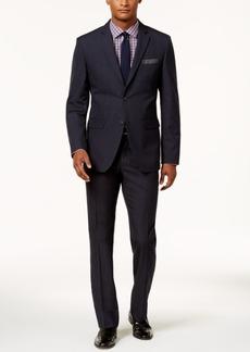 Perry Ellis Men's Slim-Fit Navy Tonal Plaid Suit