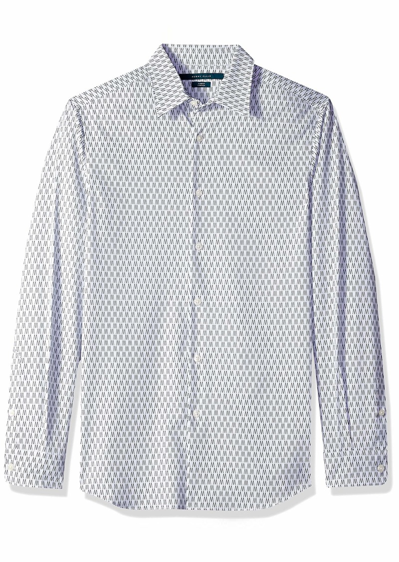 Perry Ellis Men's Slim Fit Performance Perry Zig Zag Print Shirt Eclipse/DFW