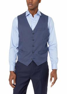 Perry Ellis Men's Slim Fit Plaid Stretch Vest True Blue-4ESV4410