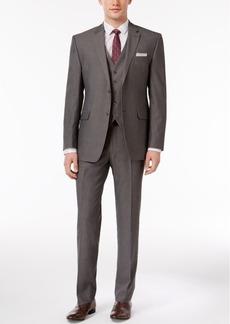 Perry Ellis Men's Slim-Fit Portfolio Gray Herringbone Vested Suit