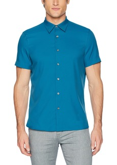 Perry Ellis Men's Slim Fit Short Sleeve Solid Total Stretch Shirt