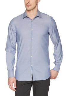 Perry Ellis Men's Slim Fit Solid Dobby Stain-Repellent Shirt Coastal f jord
