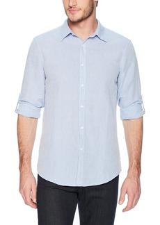 Perry Ellis Men's Slim Fit Solid Linen Cotton Roll Sleeve Shirt