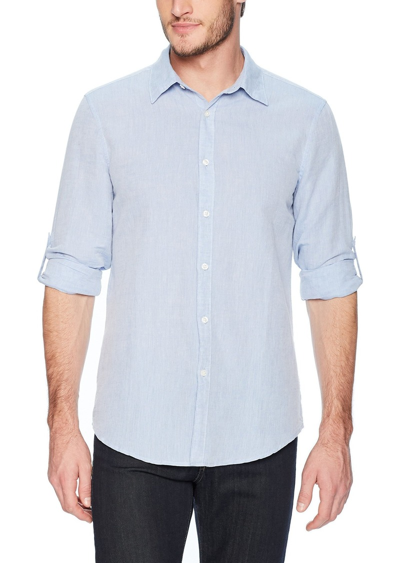 Perry Ellis Men's Slim Fit Solid Linen Cotton Roll Sleeve Shirt