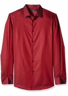 Perry Ellis Men's Slim Fit Solid Shirt Bright red Dahlia/DFW