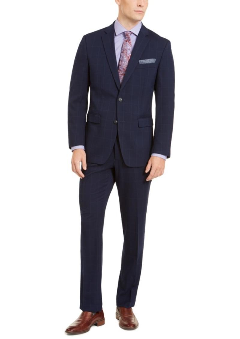 Perry Ellis Men's Slim-Fit Stretch Bright Blue Windowpane Suit