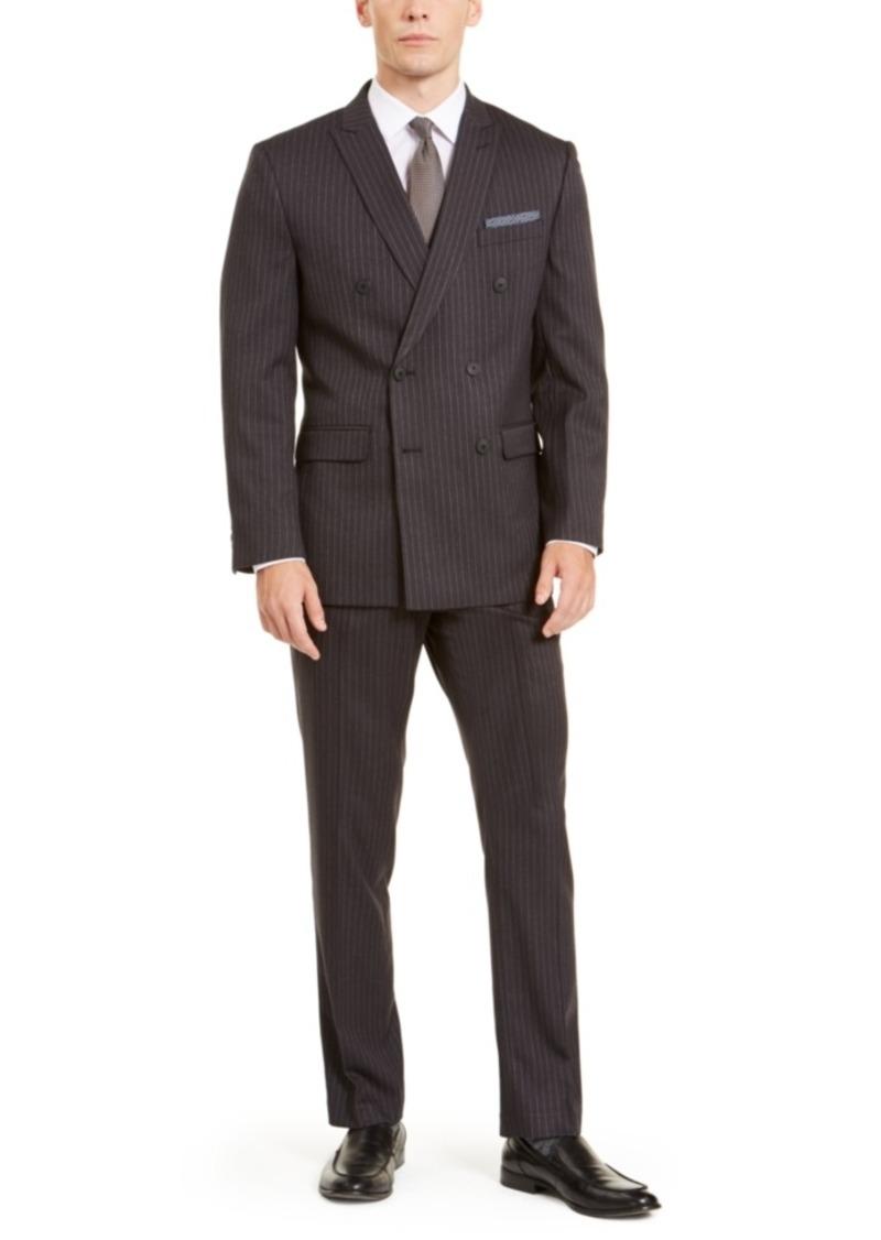 Perry Ellis Men's Slim-Fit Stretch Dark Grey Pinstripe Double Breasted Suit