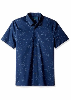 Perry Ellis Men's Slim Fit Stretch Dot Print Shirt Regal Blue/DHW Extra Large