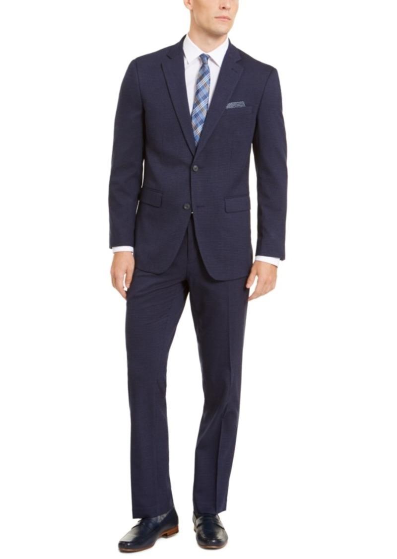 Perry Ellis Men's Slim-Fit Stretch Medium Blue Check Suit
