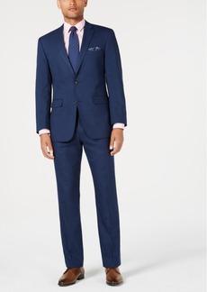 Perry Ellis Men's Slim-Fit Stretch Medium Blue Tonal Plaid Suit