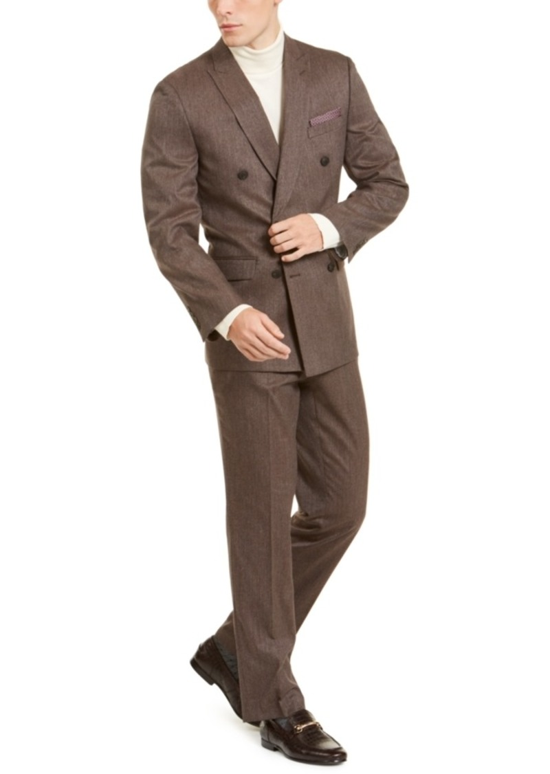 Perry Ellis Men's Slim-Fit Stretch Medium Brown Mini-Check Double Breasted Suit