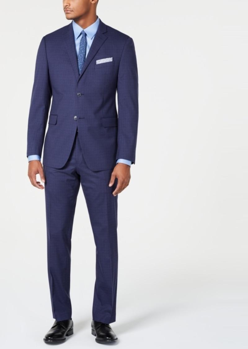 Perry Ellis Men's Slim-Fit Stretch Wrinkle-Resistant Medium Blue Check Suit