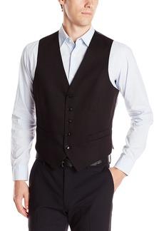 Perry Ellis Men's Slim Fit Suit Separate Vest (Blazer Pant and Vest) Black