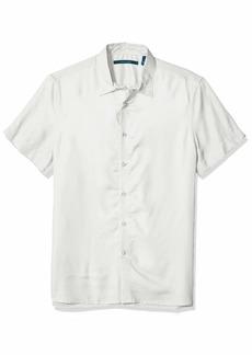 Perry Ellis Men's Solid Cotton Modal Shirt Bright White-4ESW7021