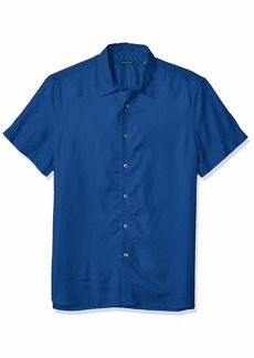 Perry Ellis Men's Solid Cotton Modal Shirt True Blue-4ESW7021 Extra Large