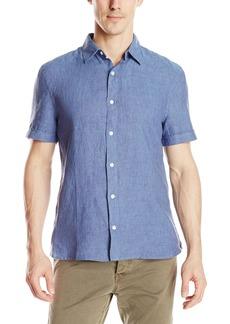 Perry Ellis Men's Solid Linen Shirt Delft-4ASW7078