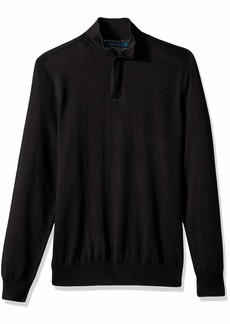 Perry Ellis Men's Solid Mock Sweater Black/DFG