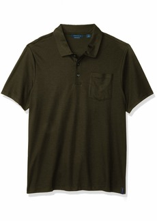 Perry Ellis Men's Solid Short Sleeve Polo Shirt with Pocket  XX Large