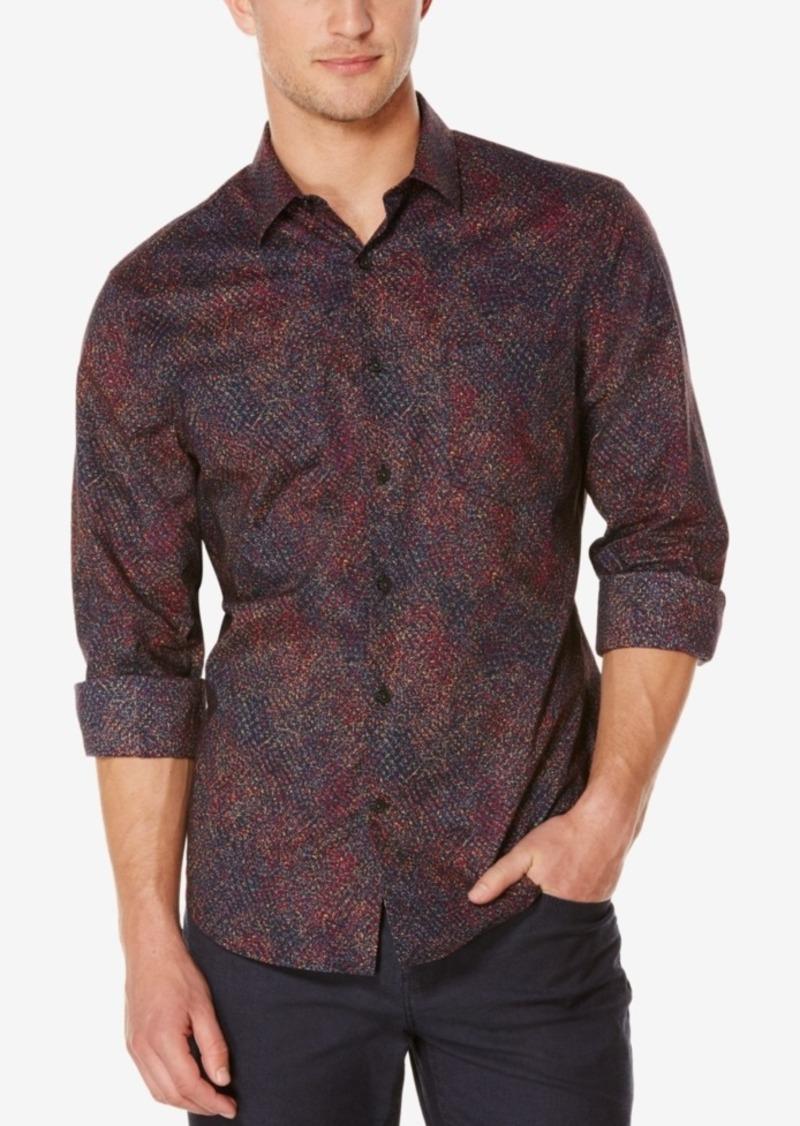 Perry Ellis Men's Splatter-Print Long-Sleeve Shirt
