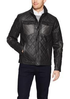 Perry Ellis Men's Stretch Faux Leather Jacket  L