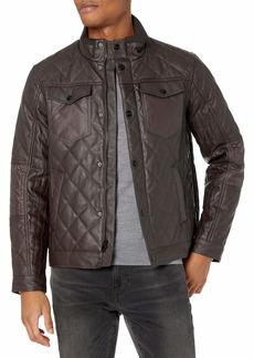 Perry Ellis Men's Stretch Faux Leather Jacket  M