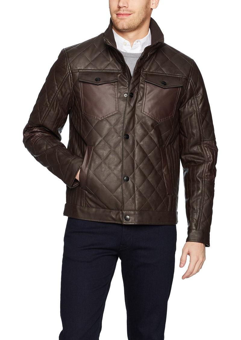 Perry Ellis Men's Stretch Faux Leather Jacket  S