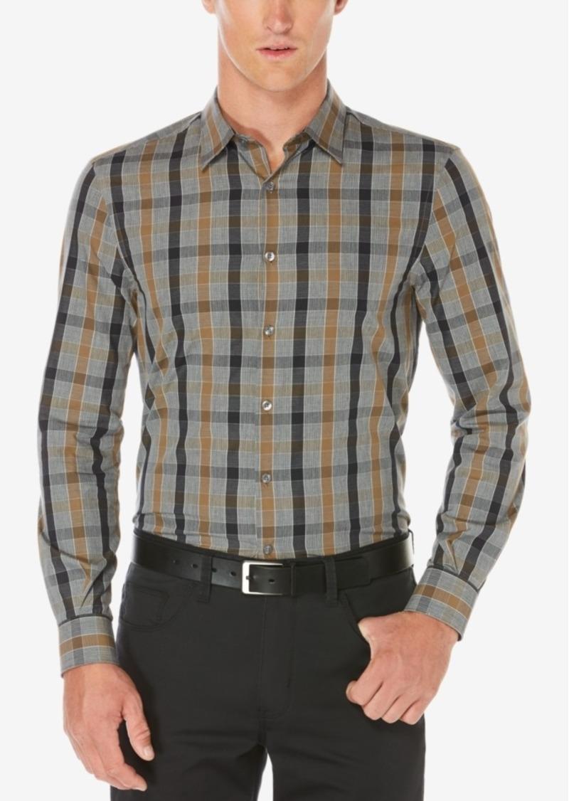 Perry Ellis Men's Stretch Heathered Plaid Shirt