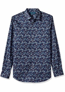 Perry Ellis Men's Stretch Multicolor Floral Print Shirt Winetasting/DHW