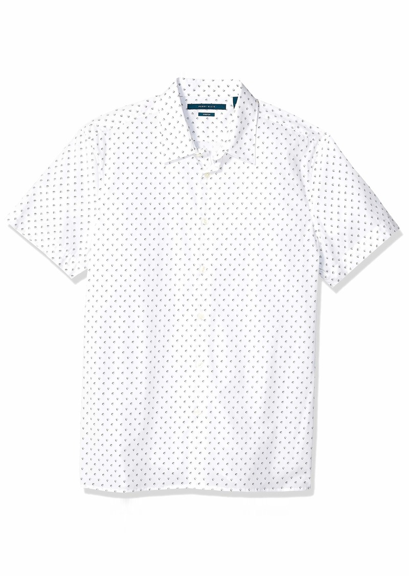 Perry Ellis Men's Stretch Printed Geo Shirt alloy-4ESW7001