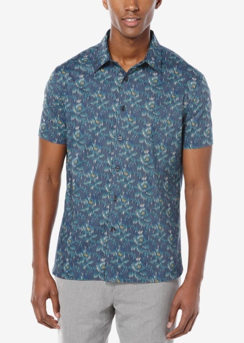Perry Ellis Men's Stripe Cloud-Print Short-Sleeve Shirt, A Macy's Exclusive Style