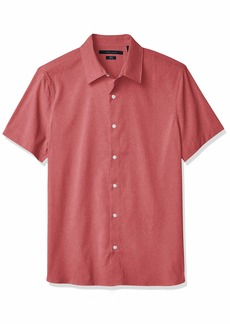 Perry Ellis Men's Total Stretch Slim Fit Heathered Short Sleeve Button-Down Shirt