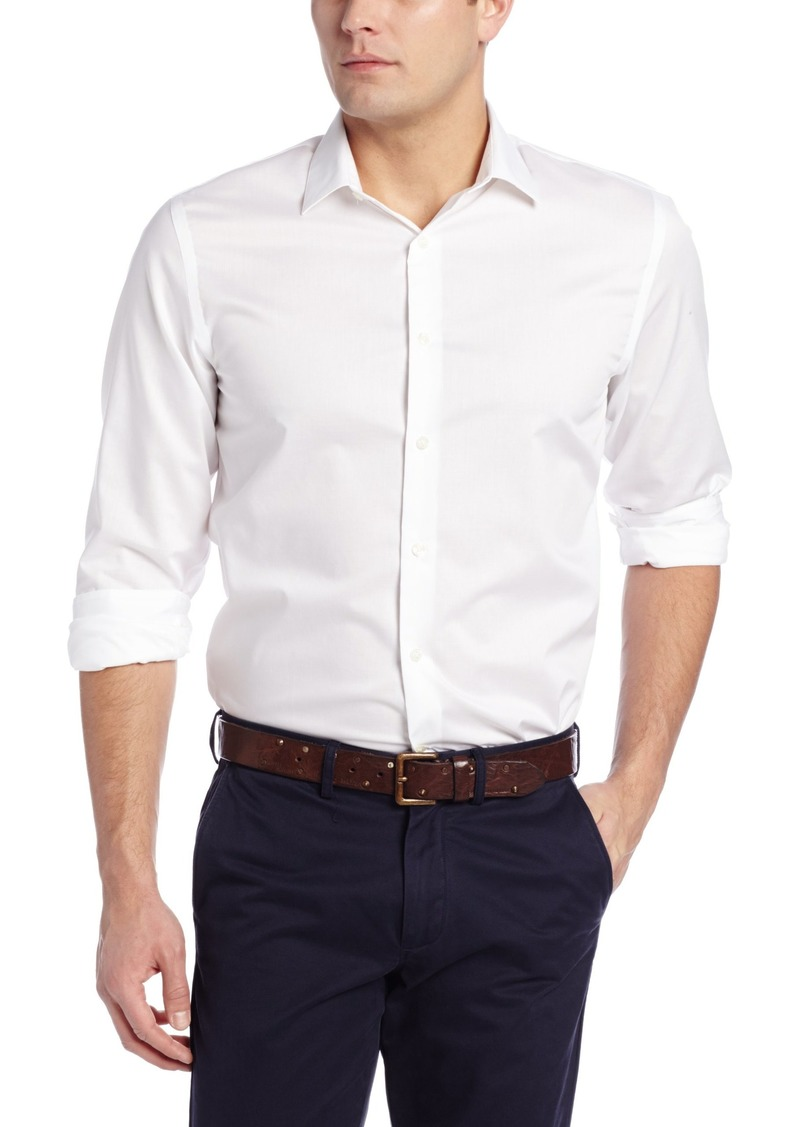 Perry Ellis Men's Travel Luxe Solid Non-Iron Twill Shirt Bright White-43HW5029